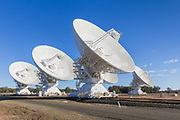 Radio telescope microwave parabolic dish antennas at CSIRO Australia Telescope Compact Array in Narrabri, New South Wales, Australia. <br />