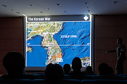 THEMENBILD - Die demilitarisierte Zone (DMZ) ist eine entmilitarisierte Zone. Sie teilt die Koreanische Halbinsel in Nord- und Südkorea und wurde nach dem drei Jahre dauernden Koreakrieg im Jahre 1953 eingerichtet. Die DMZ ist 248 Kilometer lang und ungefähr vier Kilometer breit. In ihrer Mitte verläuft die Militärische Demarkationslinie (MDL), die Grenze zwischen Nord- und Südkorea. Die DMZ wird von der aus Vertretern beider Seiten bestehenden Waffenstillstandskommission MAC (von engl. Military Armistice Commission) verwaltet. Das Betreten der DMZ ohne Genehmigung der Waffenstillstandskommission ist beiden Seiten grundsätzlich untersagt. Hier im Bild Sicherheitsunterweisung im Camp Bonifas zum Betreten der Joint Security Area (JSA). Aufgenommen am 28. Februar 2018 // The Korean Demilitarized Zone (DMZ) is a strip of land running across the Korean Peninsula. It is established by the provisions of the Korean Armistice Agreement to serve as a buffer zone between the Democratic People's Republic of Korea (North Korea) and the Republic of Korea (South Korea). The demilitarized zone (DMZ) is a border barrier that divides the Korean Peninsula roughly in half. It was created by agreement between North Korea, China and the United Nations in 1953. The DMZ is 250 kilometres (160 miles) long, and about 4 kilometres (2.5 miles) wide. In the Picture: Safety briefing at Camp Bonifas to enter the Joint Security Area (JSA). DMZ on 28th February 2018. EXPA Pictures © 2018, PhotoCredit: EXPA/ Johann Groder