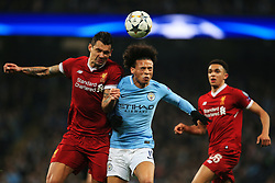 Leroy Sane of Manchester City challenges Dejan Lovren of Liverpool - Mandatory by-line: Matt McNulty/JMP - 10/04/2018 - FOOTBALL - Etihad Stadium - Manchester, England - Manchester City v Liverpool - UEFA Champions League Quarter Final Second Leg