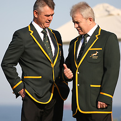 DURBAN, SOUTH AFRICA - JUNE 07: Springbok coach Heyneke Meyer with Ian Schwartz Team Manager of South Africa during the Springboks team photo and press conference at Beverly Hills Hotel on June 07, 2013 in Durban, South Africa. (Photo by Steve Haag/Gallo Images)