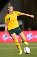 NEWCASTLE, NSW - NOVEMBER 13: Australian defender Alanna Keennedy (14) takes the ball at the international women's soccer match between Australia and Chile at McDonald Jones Stadium in NSW, Australia. (Photo by Speed Media/Icon Sportswire)