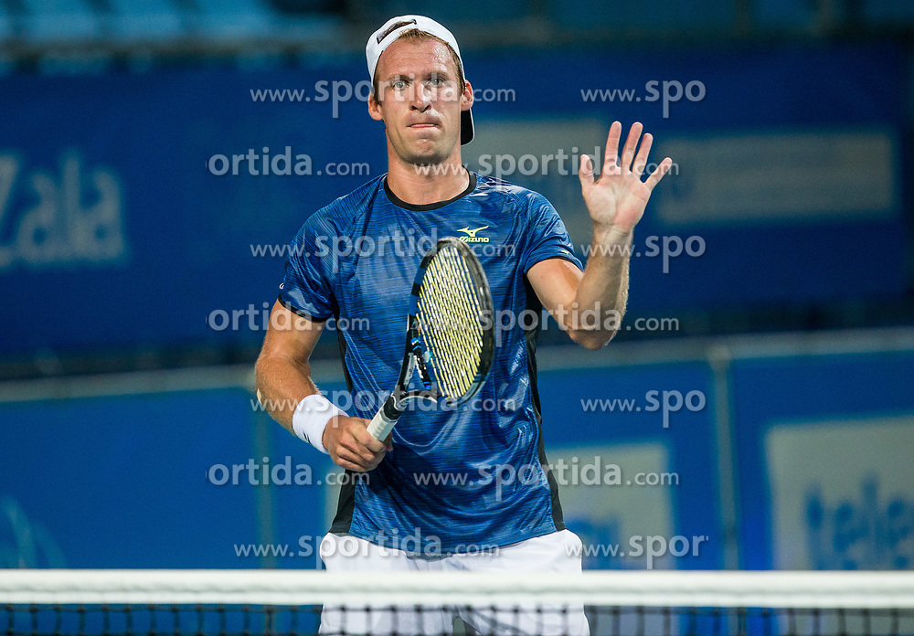 Grega Zemlja (SLO) played against Filip Krajinovic (SRB) at 2nd Round of ATP Challenger Zavarovalnica Sava Slovenia Open 2017, on August 9, 2017 in Sports centre, Portoroz/Portorose, Slovenia. Photo by Vid Ponikvar / Sportida