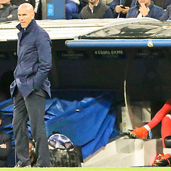 Zinedine Zidane head coach of Real Madrid in action during Uefa Champions League (Group H) match between Real Madrid and Tottenham Hotspur at Santiago Bernabeu Stadium on October 17, 2017 in Madrid  (Spain) (Photo by Luis de la Mata / SportPix.org.uk)