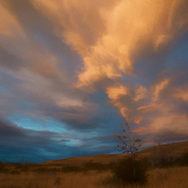 Warm sunset sky with lit clouds piling up in a smoke formation over a desolate Patagonian landscape with some shrubbery