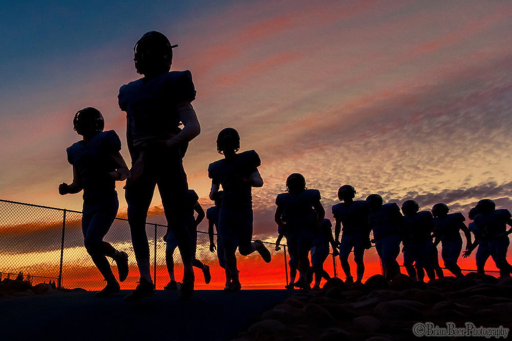 The Oakmont High School Vikings come on the to the field before the game as they host the Antelope High School Titans Friday Sep 30, 2016.<br /> photo by Brian Baer