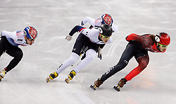 February 17, 2018 - Gangneung, South Korea - Short track skaters Samuel Girard of Canada, John-Henry Krueger of the United States, Yira Seo of Korea, Hyojun Lim of Korea compete in the Men's Short Track Speed Skating 1000M finals at the PyeongChang 2018 Winter Olympic Games at Gangneung Ice Arena on Saturday February 17, 2018. (Credit Image: © Paul Kitagaki Jr. via ZUMA Wire)