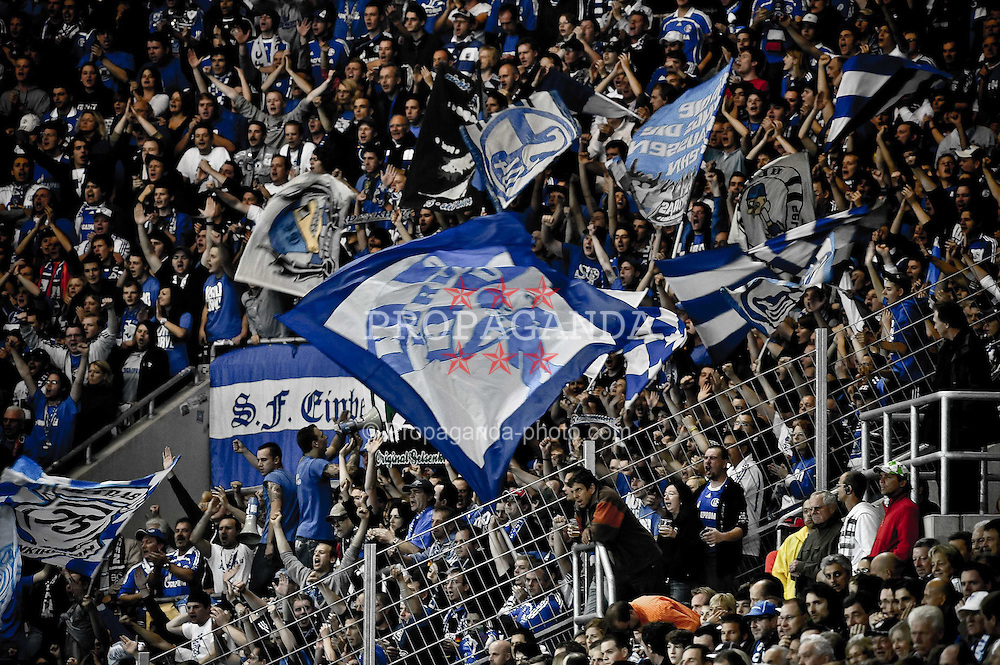 10.09.2010, Rhein-Neckar-Arena, Sinsheim, GER, 1. FBL, TSG Hoffenheim vs Schalke 04, im Bild mitgereiste Schalker Fans, EXPA Pictures © 2010, PhotoCredit: EXPA/ nph/  Roth+++++ ATTENTION - OUT OF GER +++++