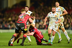Alec Hepburn of Exeter Chiefs is tackled by Ruan Ackermann of Gloucester Rugby and Fraser Balmain of Gloucester Rugby - Mandatory by-line: Ryan Hiscott/JMP - 15/02/2019 - RUGBY - Kingsholm - Gloucester, England - Gloucester Rugby v Exeter Chiefs - Gallagher Premiership Rugby