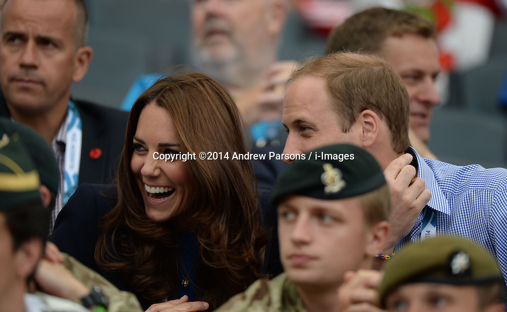 Image licensed to i-Images Picture Agency. 29/07/2014. Glasgow, United Kingdom. The Duke and Duchess of Cambridge  watching the Athletics, Hampden Park, Glasgow on day six of the Commonwealth Games.  Picture by Andrew Parsons / i-Images