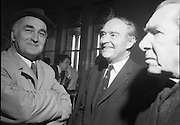 Mr Liam Cosgrave,Leader of Fine Gael,at Vote Count. (E48)1973..01.03.1971..03.01.1973..1st March 1973..As the ballot boxes were opened in Dun Laoghaire Town Hall, Mr Cosgrave and his supporters watched as the voting papers were piled high. The vote was as the result of an often hectic General Election campaign. Mr Cosgrave was hoping his party would garner enough votes to oust the sitting Fianna Fail Government which had held power for sixteen years...Picture of a happy Liam Cosgrave as he and his supporters realise that he will top the poll in his constituency.