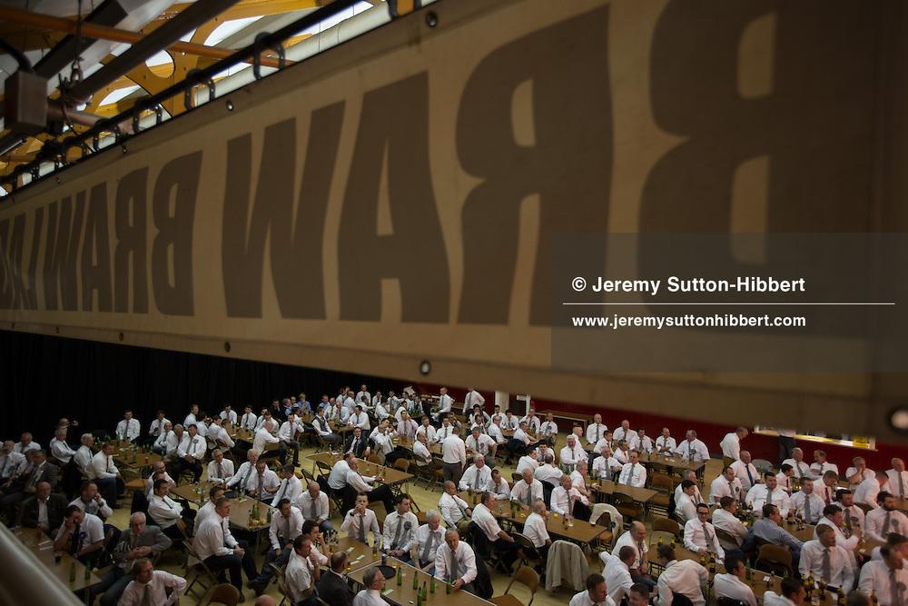 The Braw Lads Breakfast, at Volunteer Hall, during the Gala Braw Lads Gathering, with Braw Lad Daniel Whitehead, in Galashiels, Scotland, Saturday 29th June 2013.<br /> N55&deg;36.909'<br /> W2&deg;48.465'