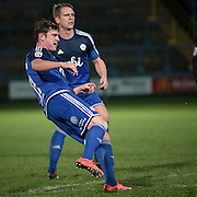 Sam Walker (Halifax) hits the free kick goalwards during the Conference Premier League match between FC Halifax Town and Guiseley at the Shay, Halifax, United Kingdom on 5 December 2015. Photo by Mark P Doherty.