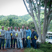 JULY 19, 2018----UTUADO, PUERTO RICO---<br /> A reinforcement crew  from  the Puerto Rico Electric Power Authority  after restoring power to a single family home.<br /> (Photo by Angel Valentin/Freelance)