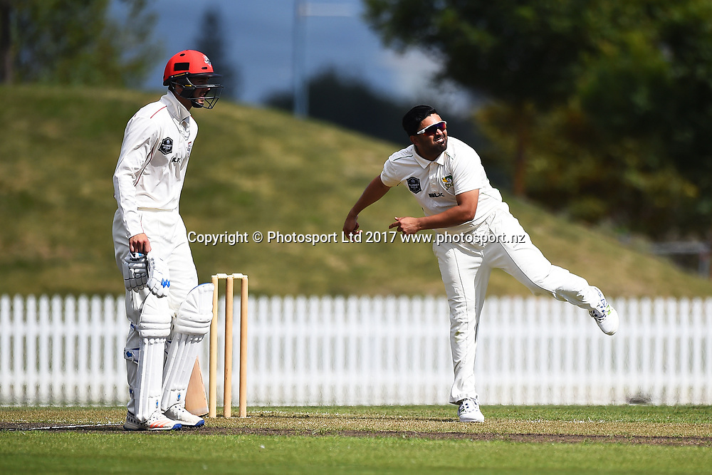 Stags player Ajaz Patel during their Plunket Shield match Central Stags v Canterbury. Saxton Oval, Nelson, New Zealand. Tuesday 21 March 2017. ©Copyright Photo: Chris Symes / www.photosport.nz