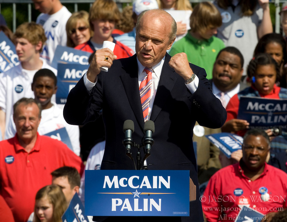 "Former Senator Fred Thompson (R-TN) warms up the crowd at a McCain-Palin rally in Virginia.  2008 Republican Presidential nominee Senator John McCain (R-AZ) and Governor Sarah Palin (R-AK) held a ""Road to Victory Rally"" in front of an estimated 23,000 supporters in Van Dyke Park in Fairfax, VA on September 10, 2008."
