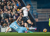 Football - 2016 / 2017 Premier League - Tottenham Hotspur vs. Stoke City<br /> <br /> Jan Vertonghen of Tottenham avoids the sliding challenge of Ramadan Sobhi of Stoke City at White Hart Lane.<br /> <br /> COLORSPORT/DANIEL BEARHAM