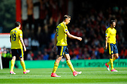 Gaston Ramirez (21) of Middlesborough walks off the pitch after being shown a red card during the Premier League match between Bournemouth and Middlesbrough at the Vitality Stadium, Bournemouth, England on 22 April 2017. Photo by Graham Hunt.
