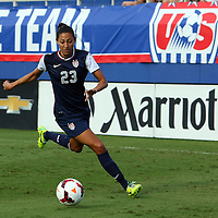 U.S. forward Christen Press (23) during an international friendly soccer match between the United States Women's National soccer team and the Russia National soccer team at FAU Stadium on Saturday, February 8, in Boca Raton, Florida. The U.S. won the match by a score of 7-0. (AP Photo/Alex Menendez)