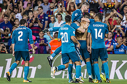 August 13, 2017 - Barcelona, Catalonia, Spain - Real Madrid forward RONALDO celebrates scoring a goal with teammates during the Spanish Super Cup Final 1st leg against the FC Barcelona at the Camp Nou stadium in Barcelona. (Credit Image: © Matthias Oesterle via ZUMA Wire)