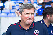Bolton Wanderers (interim) manager Jimmy Phillips during the EFL Sky Bet League 1 match between Bolton Wanderers and Ipswich Town at the University of  Bolton Stadium, Bolton, England on 24 August 2019.