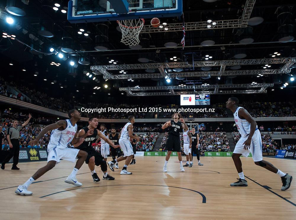 25.07.2015. London England. Basketball test match. Great Britain versus New Zealand.  Tall Blacks Forward Isaac Fotu [#12] takes a free throw.