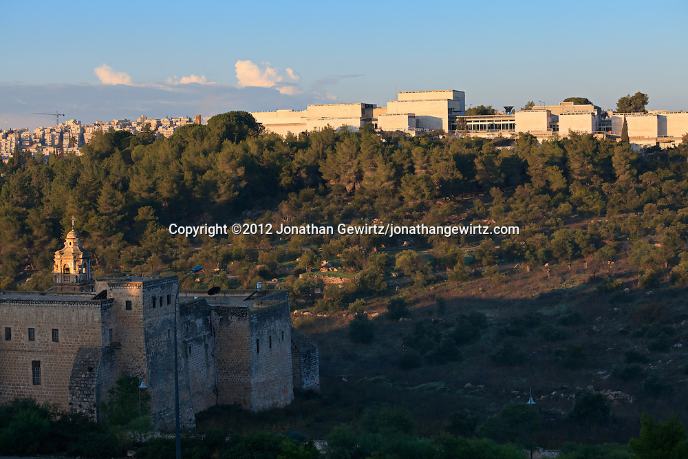 The Valley of the Cross (Matsleva) near the center of Jerusalem is the site of both the Monastery of the Cross and, on the Valley's western rim, the Israel Museum. WATERMARKS WILL NOT APPEAR ON PRINTS OR LICENSED IMAGES.