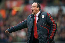 STOKE, ENGLAND - Saturday, January 16, 2010: Liverpool's manager Rafael Benitez during the Premiership match against Stoke City at the Britannia Stadium. (Photo by David Rawcliffe/Propaganda)