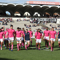 Players of Stade Francais during the Top 14 match between Bordeaux Begles and Stade Francais on September 9, 2017 in Bordeaux, France. (Photo by Manuel Blondeau/Icon Sport)