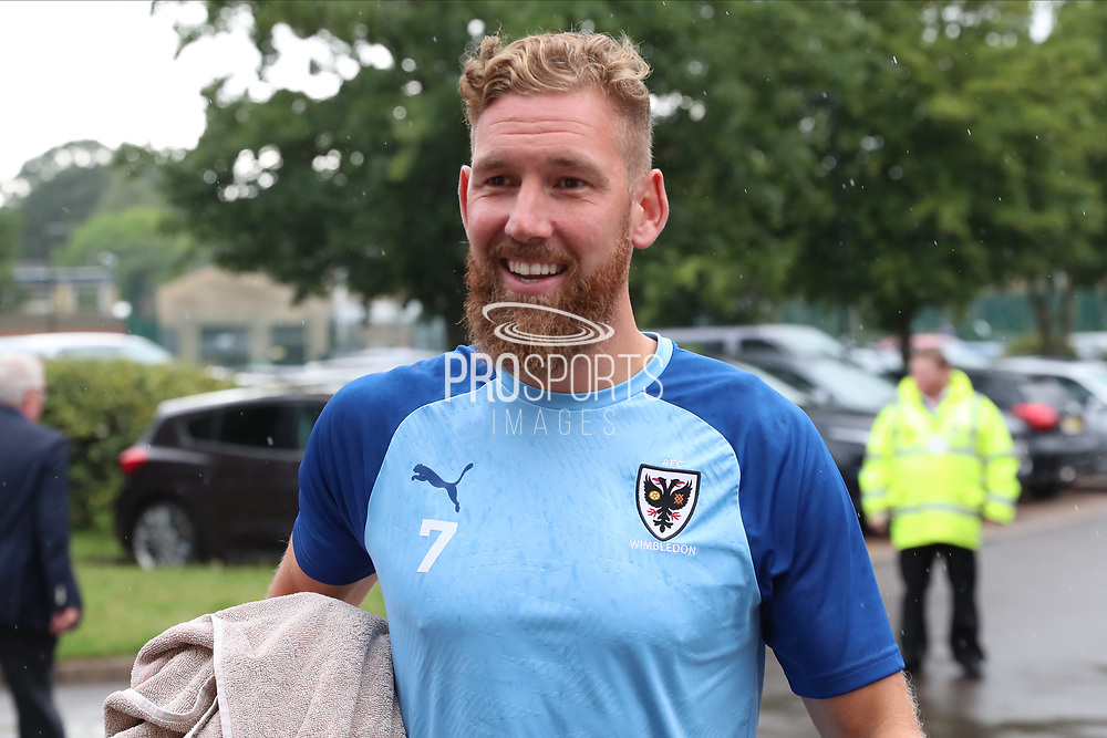 AFC Wimbledon midfielder Scott Wagstaff (7) arriving during the Pre-Season Friendly match between AFC Wimbledon and Crystal Palace at the Cherry Red Records Stadium, Kingston, England on 30 July 2019.