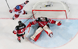 Petr Koukal of Czech Republic celebrates after referees didn't recognise  goal of Czech Republic against goalie Mike Smith of Canada during Ice Hockey match between Canada and Czech Republic at Semifinals of 2015 IIHF World Championship, on May 16, 2015 in O2 Arena, Prague, Czech Republic. Photo by Vid Ponikvar / Sportida