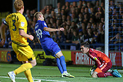 Milton Keynes Dons goalkeeper Lee Nicholls (1)  saves penalty from \w39 during the EFL Cup match between AFC Wimbledon and Milton Keynes Dons at the Cherry Red Records Stadium, Kingston, England on 13 August 2019.