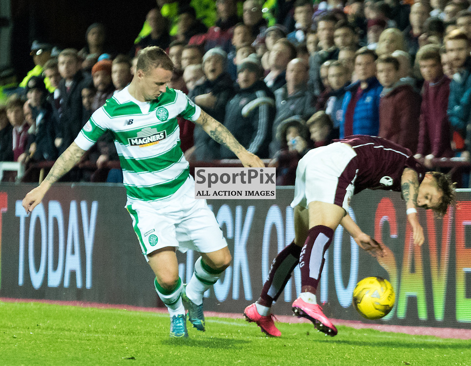 Celtic's Leigh Griffiths knocks Heart of Midlothian's Sam Nicholson to the ground during the Hearts vs Celtic Scottish League Cup Quarter Final 28th October 2015......(c) MARK INGRAM | SportPix.org.uk