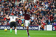Osman Sow Shouts for Hand Ball during the Ladbrokes Scottish Premiership match between Heart of Midlothian and Aberdeen at Tynecastle Stadium, Gorgie, Scotland on 20 September 2015. Photo by Craig McAllister.