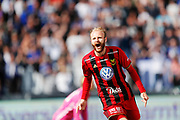 SUNDSVALL, SWEDEN - MAY 19: Curtis Edwards of Ostersunds FK celebrates after scoring to 0-1 during the Allsvenskan match between GIF Sundsvall and Ostersunds FK at Idrottsparken on May 19, 2018 in Sundsvall, Sweden. Photo: Nils Petter Nilsson/Ombrello ***BETALBILD***