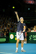 Jamie Murray of Great Britain serves during the 2016 Davis Cup Semi Final between Great Britain and Argentina at the Emirates Arena, Glasgow, United Kingdom on 17 September 2016. Photo by Craig Doyle.
