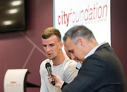 Aden Flint of Bristol City answers questions - Mandatory byline: Robbie Stephenson/JMP - 26/04/2016 - FOOTBALL - Ashton Gate - Bristol, England - Players Q&A