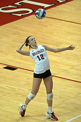 12 October 2006: Jennifer Bohan serves. The Redbirds of Illinois State beat the Braves of Bradley 3 games to 1 in a best of 5 match. The match took place at Redbird Arena on the campus of Illinois State University in Normal Illinois.<br />