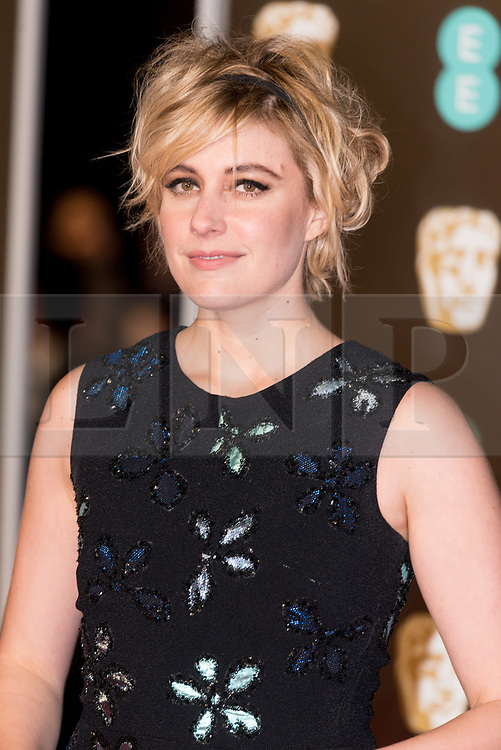 © Licensed to London News Pictures. 18/02/2018. GRETA GERWIG arrives on the red carpet for the EE British Academy Film Awards 2018, held at the Royal Albert Hall, London, UK. Photo credit: Ray Tang/LNP