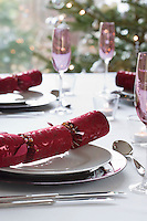 Christmas crackers on dining table