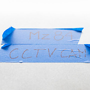 """December 12, 2016 - New York, NY :  A piece of blue tape with """"Mz84 CCTVCAM"""" is adhered to the ceiling above the platform in the 72nd Street Second Avenue subway station. After years of delays, the new subway line is preparing to welcome its first straphangers. CREDIT: Karsten Moran for The New York Times"""