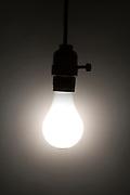 a glowing regular light bulb