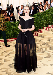 Lily Collins attending the Metropolitan Museum of Art Costume Institute Benefit Gala 2018 in New York, USA.