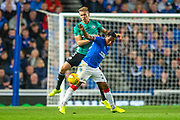 Alfredo Morelos (#20) of Rangers FC shields the ball from Igor Lewczuk (#5) of Legia Warsaw during the Europa League Play Off leg 2 of 2 match between Rangers FC and Legia Warsaw at Ibrox Stadium, Glasgow, Scotland on 29 August 2019.