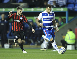 Reading's Daniel Williams goes past Brighton and Hove Albion's Jake Forster-Caskey - Photo mandatory by-line: Robbie Stephenson/JMP - Mobile: 07966 386802 - 10/03/2015 - SPORT - Football - Reading - Madejski Stadium - Reading v Brighton - Sky Bet Championship