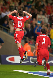 CARDIFF, WALES - Friday, September 5, 2008: Wales' Sam Vokes celebrates scoring a late winning goal against Azerbaijan during the opening 2010 FIFA World Cup South Africa Qualifying Group 4 match at the Millennium Stadium. (Photo by David Rawcliffe/Propaganda)