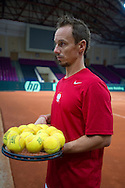 Radoslaw Szymanik - captain national team while traning session two days before the BNP Paribas Davis Cup 2013 between Poland and Australia at Torwar Hall in Warsaw on September 11, 2013.<br /> <br /> Poland, Warsaw, September 11, 2013<br /> <br /> Picture also available in RAW (NEF) or TIFF format on special request.<br /> <br /> For editorial use only. Any commercial or promotional use requires permission.<br /> <br /> Photo by © Adam Nurkiewicz / Mediasport