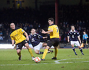 Livingston's Mark Fotheringham fouls Dundee's Jamie McCluskey - Dundee v Livingston, IRN BRU Scottish Football League, First Division at Dens Park - ..© David Young - .5 Foundry Place - .Monifieth - .Angus - .DD5 4BB - .Tel: 07765 252616 - .email: davidyoungphoto@gmail.com.web: www.davidyoungphoto.co.uk