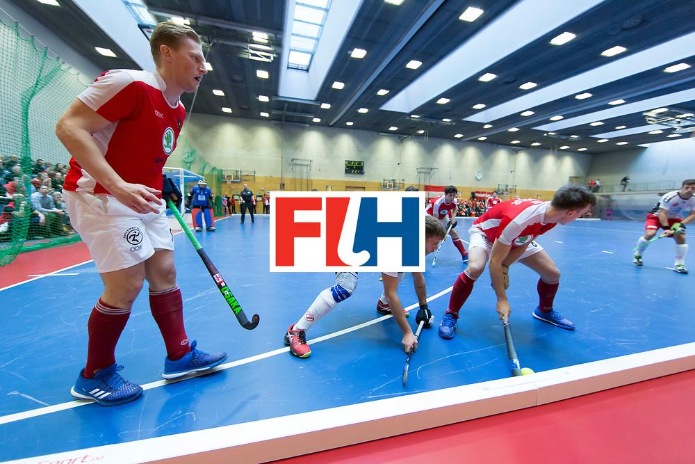 Hockey, Seizoen 2017-2018, 09-02-2018, Berlijn,  Max-Schmelling Halle, WK Zaalhockey 2018 MEN, Austria - Switzerland 2-2, Yves Morard (SUI) and Fabian Unterkircher (AUT)