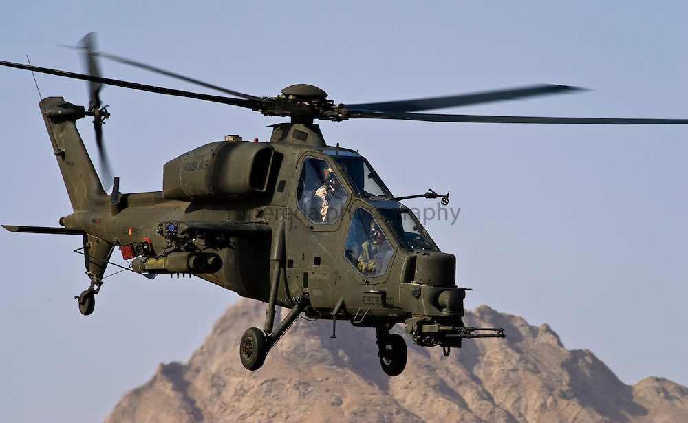 Italian army helicopter A129 Mangusta operating in Afghanistan