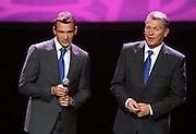 WARSAW 16/11/2010.Official presentation of EURO 2012 Mascot ..Andriy Schevchenko /L/ and Oleg Blohin /r/.Fot. Piotr Hawalej